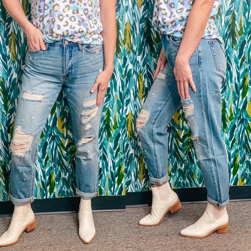 "Vervet Kassie ""Summer Dance"" Distressed Paint Splatter Jeans *Final Sale*"