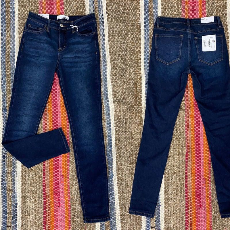 "Vervet ""Amber"" Dark Blue ""Note"" Mid-Rise Ankle Jeans *Final Sale*"