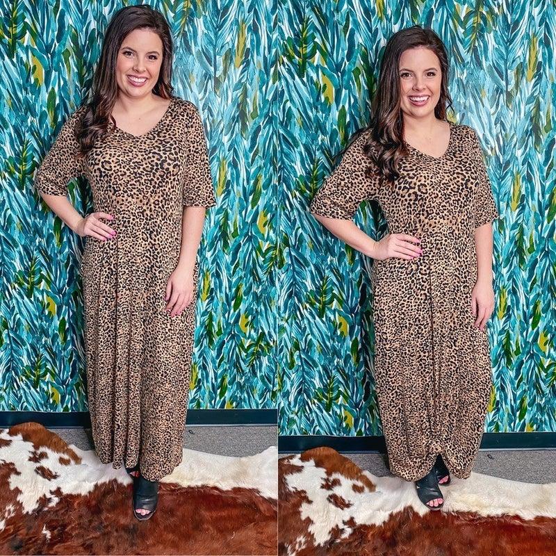 Reg/Plus Leopard V-Neck Maxi Dress with Pockets *Final Sale*