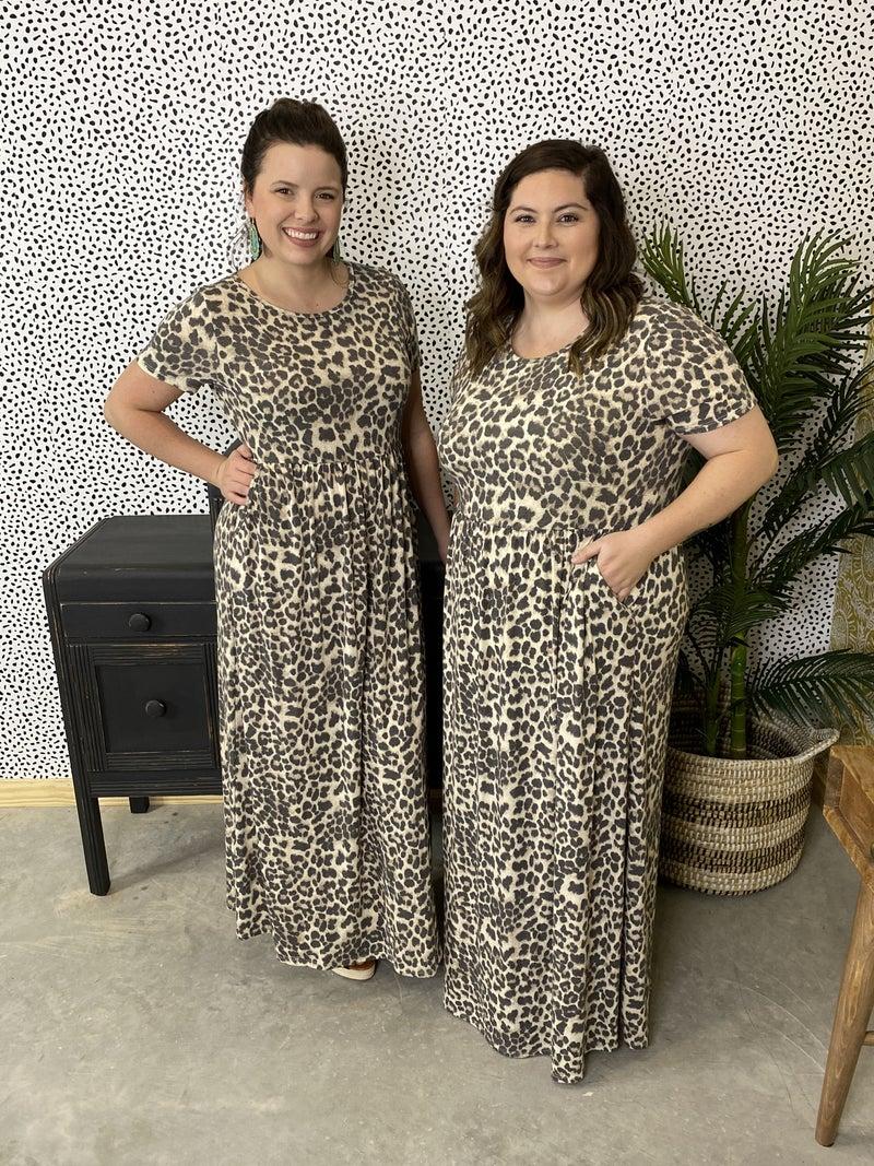 Reg/Plus SIL Leopard Maxi Dress
