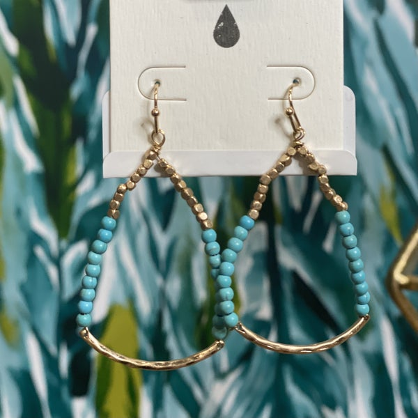 Unique Stacked Drop Earrings Blue