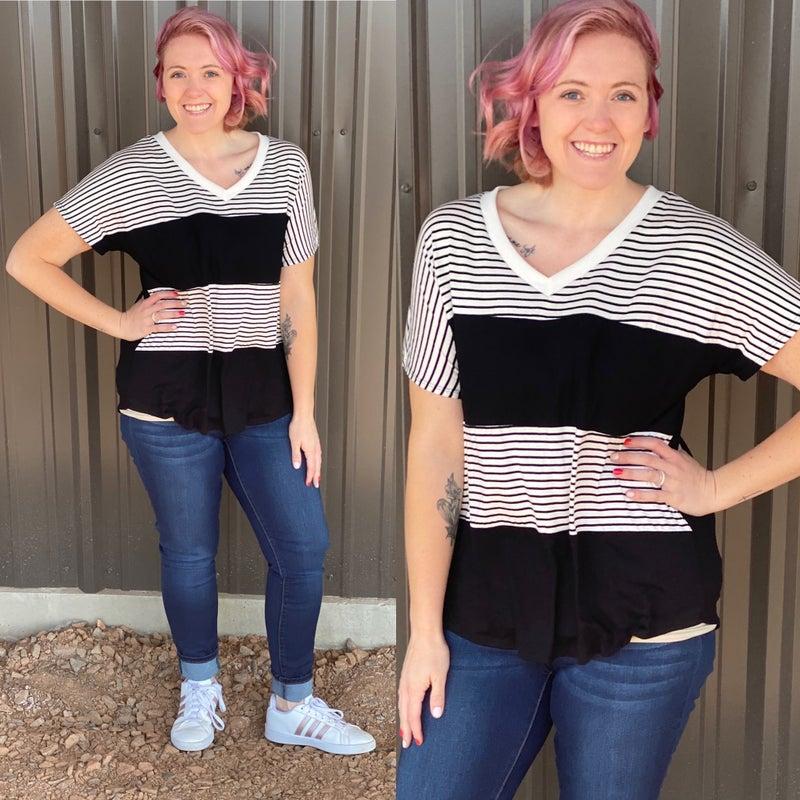 Reg/Plus SIL Black/Striped Color Block V-Neck Top