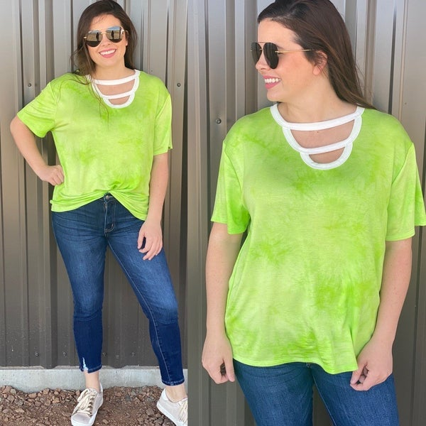 Fantastic Fawn Lime Green Double Cut-Out Neck Top *Final Sale*