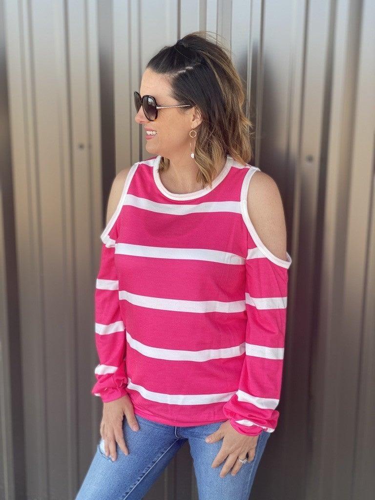 Fantastic Fawn Hot Pink Striped Cold Shoulder Top *Final Sale*