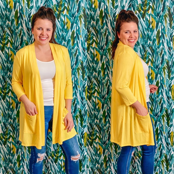 Reg/Plus Zenana Yellow Slouchy Cardigan