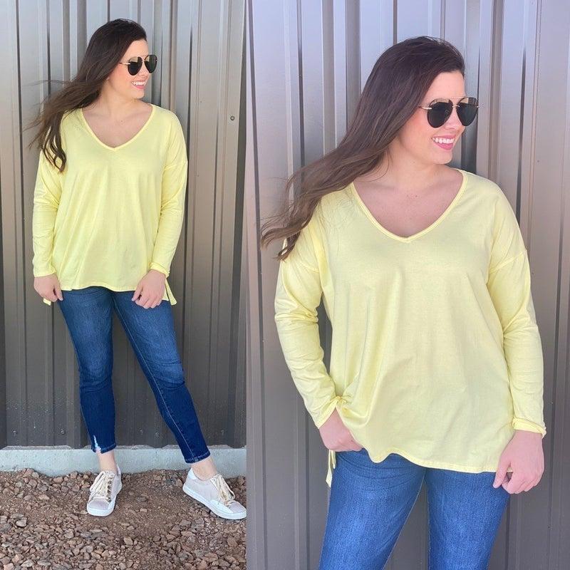 Fantastic Fawn Lemon Slub Knit V-Neck Long Sleeve Top *Final Sale*