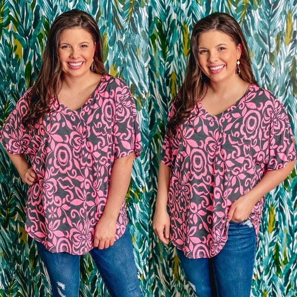 Honey Me Pink/Charcoal V-Neck Girlfriend Top *Final Sale*