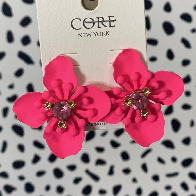 Neon Pink Hibiscus Earrings