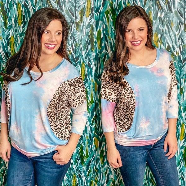 Reg/Plus WB Pink/Blue Tie Dye Dolman with Leopard Trim