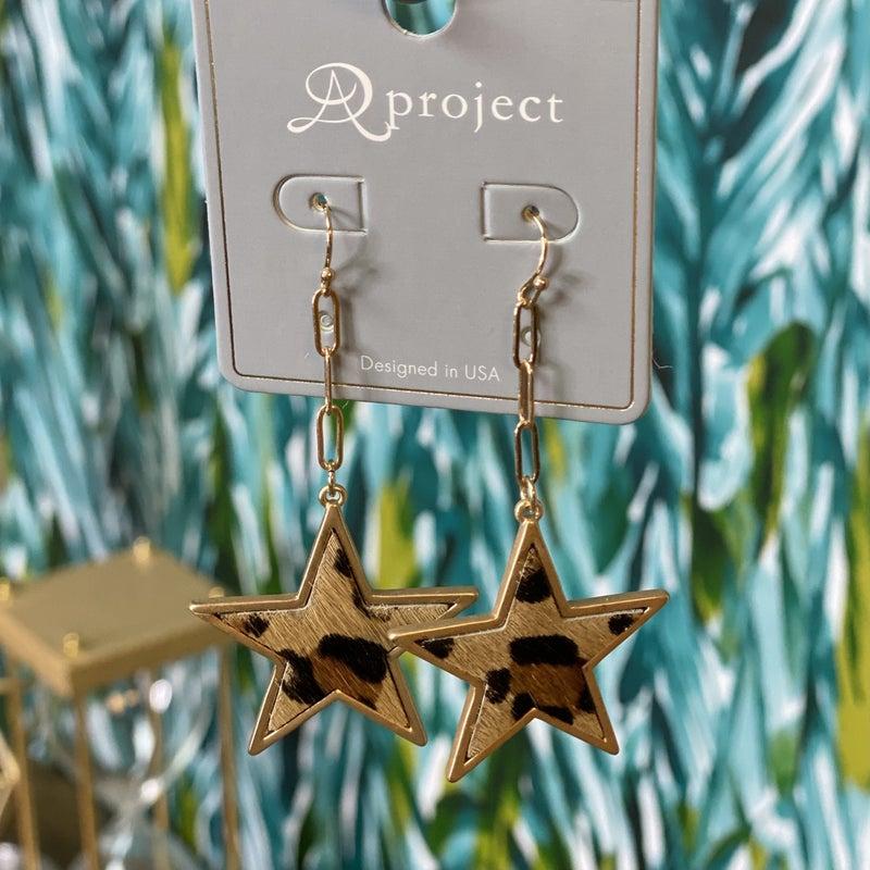 Leopard Star Drop Earrings *Final Sale*
