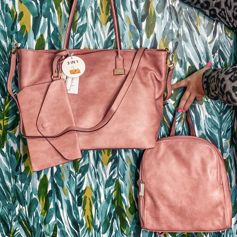 3 in 1 Vegan Leather Bag Collection in Dusty Rose