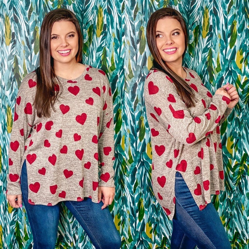 Reg/Plus SOL Heather Gray Top with Hearts *Final Sale*