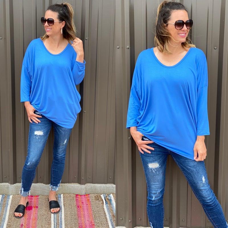 Reg/Plus Honey Me Blue V-Neck Dolman 3/4 Sleeve Top