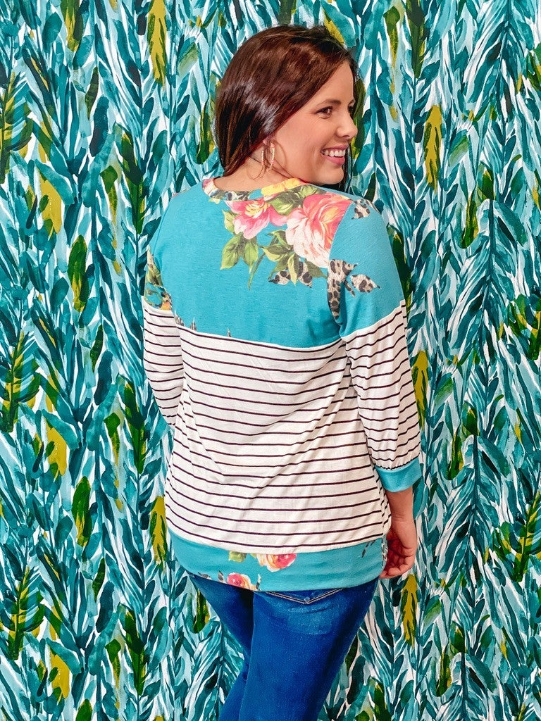 Reg/Plus Lilypad Turquoise Floral/Striped 3/4 Sleeve Top *Final Sale*