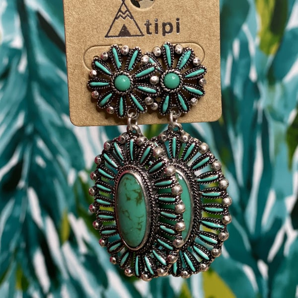 Western Inspired Teal Marbled Earrings