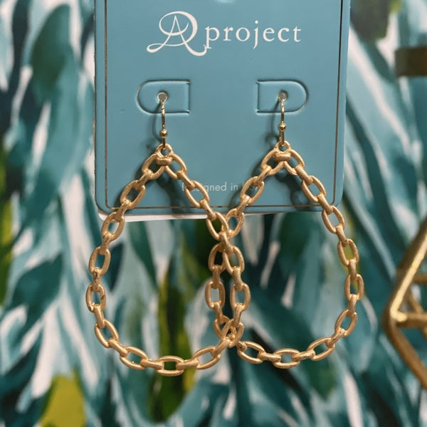 Teardrop Faux Chain Link Earrings Gold