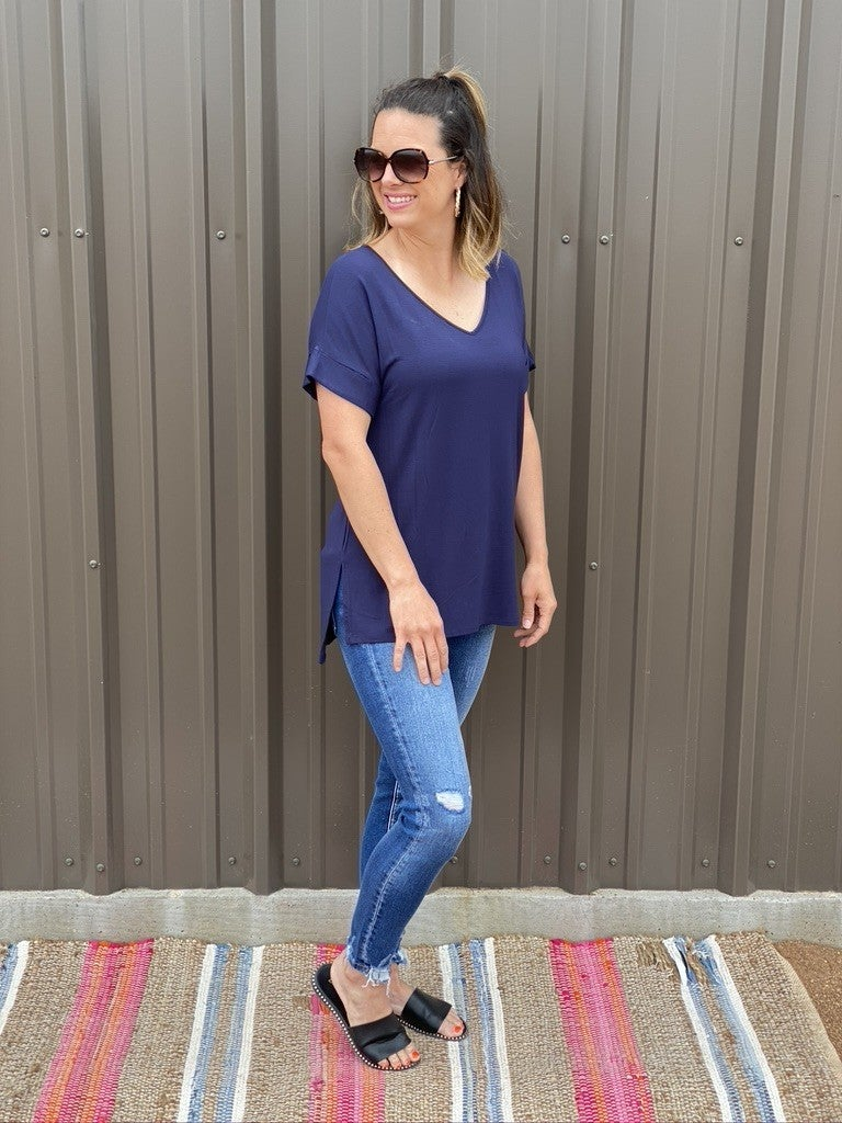 Zenana Navy Tencel V-Neck Side Slit Top