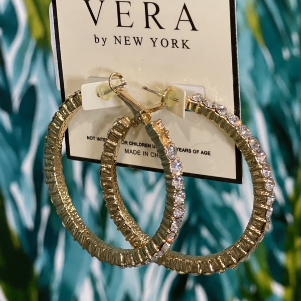 Gold Studded Hoops by Vera