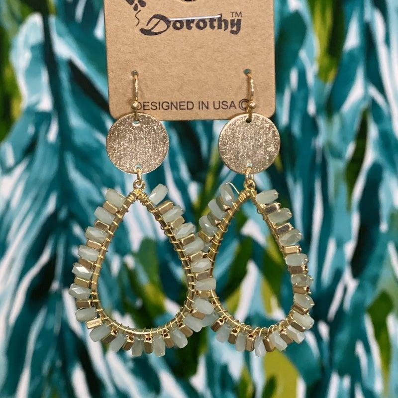Gold/Mint Entwined Pear Drop Earrings