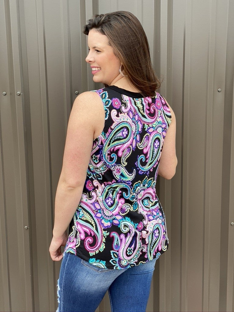 Reg/Plus Sew in Love Black Paisley Tank with Buttons