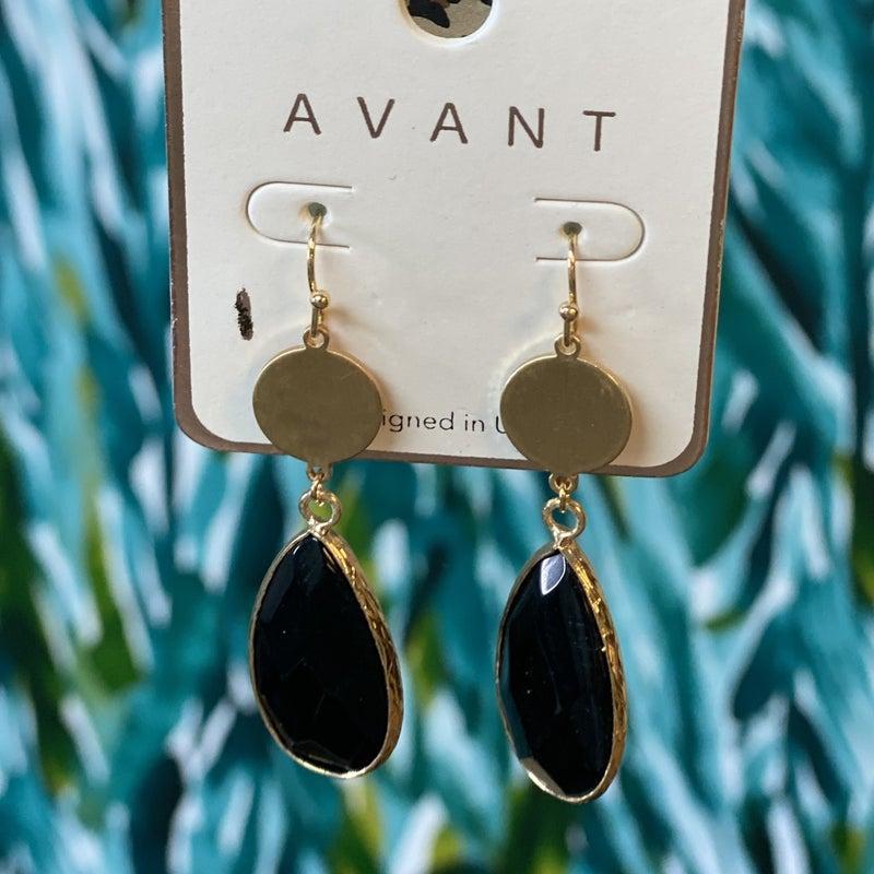 Black Jewel Tear Drop Earrings *Final Sale*