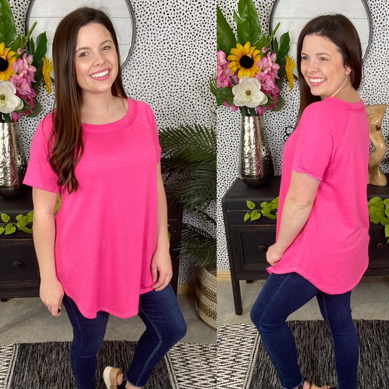 Reg/Plus Honey Me Fuchsia Top with Blue Stitching