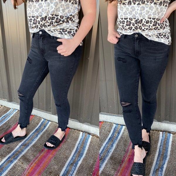 """Reg/Plus Vervet Amber """"Mischief"""" Washed Black Sharkbite Jeans *Final Sale*"""