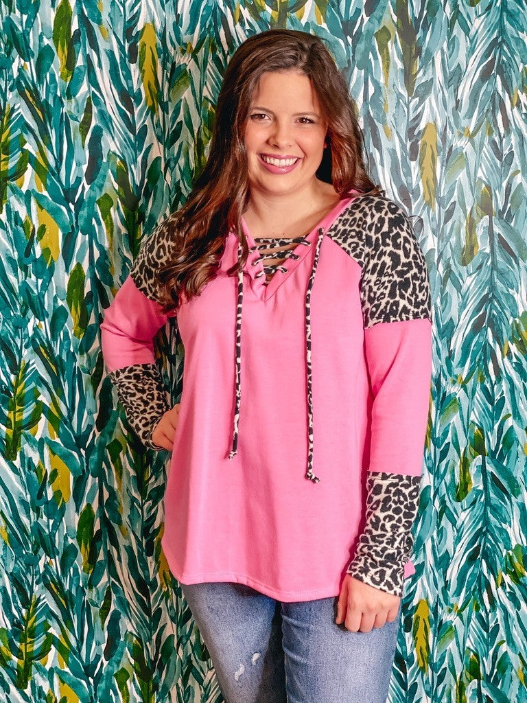 Reg/Plus Pink Top with Leopard Raglan Sleeves and V-Neck Lacing *Final Sale*