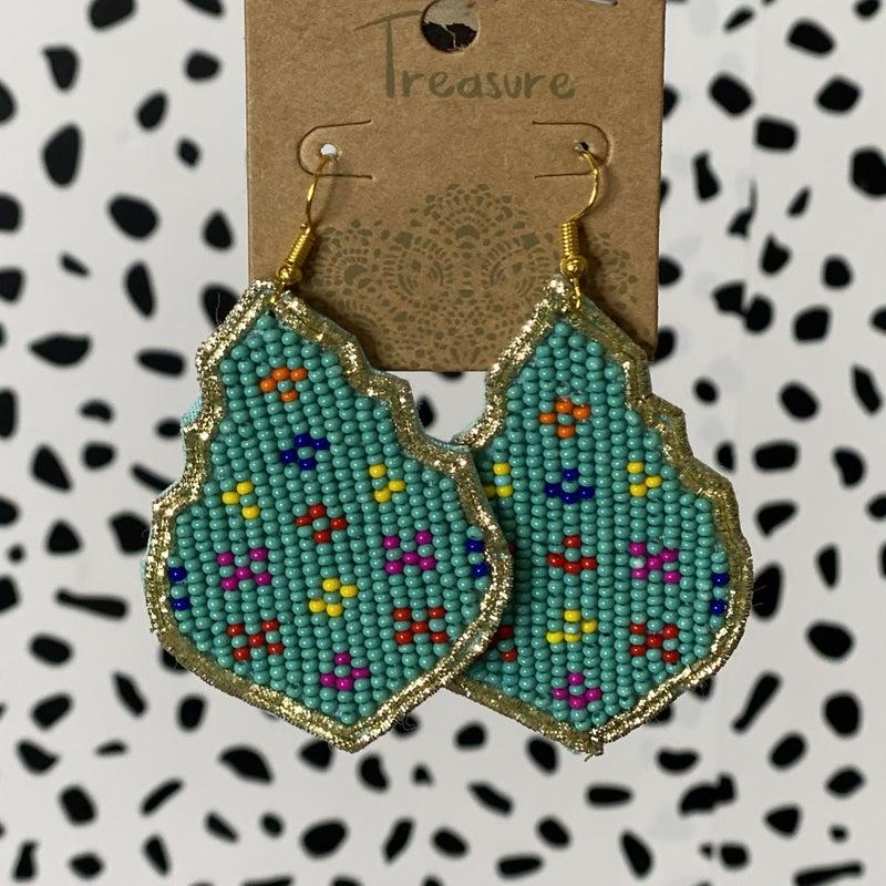 Seed Bead Chandelier Earrings - Teal