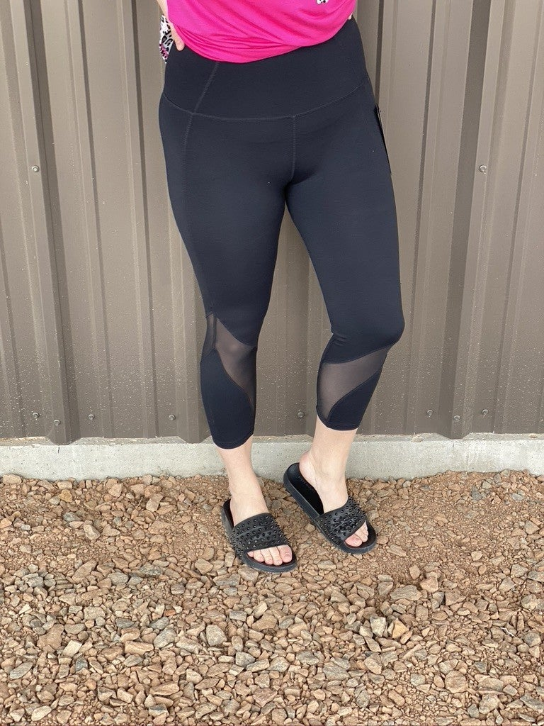 Mono B Black Wave High Waist Mesh Capri Leggings *Final Sale*