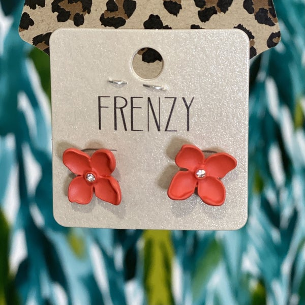Red Hibiscus Studs