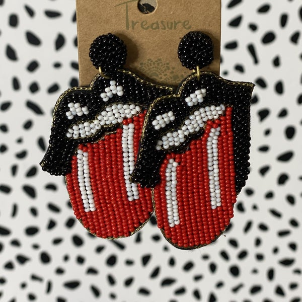 Tongues Out Seed Bead Earrings