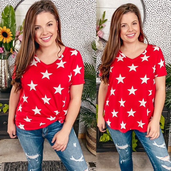 Reg/Plus Sew in Love Red V-Neck Top with Stars
