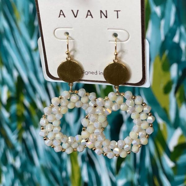 Natural Glass Bead Circlet Earrings