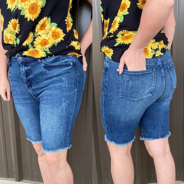 Judy Blue Fray Hem Bermuda Shorts *Final Sale*