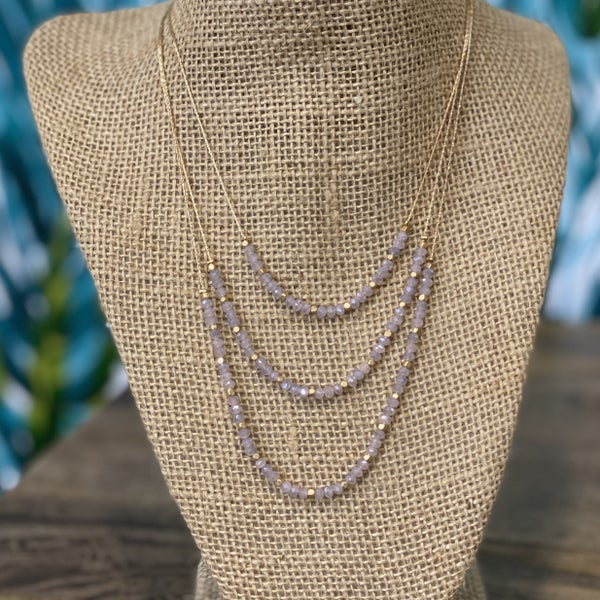 Triple Layered Crystal Necklace Lavender