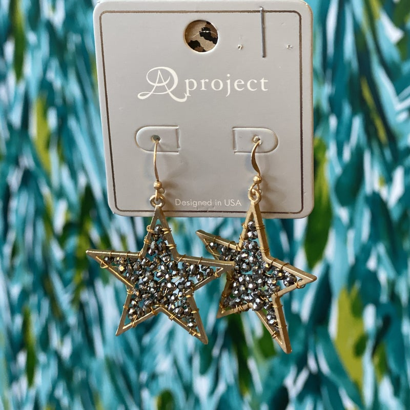 Gold Star Earrings with Black Beads