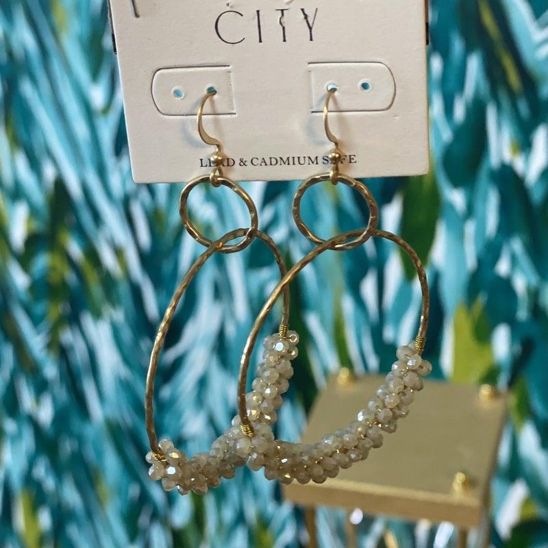 CITY Ivory Beaded Hoops