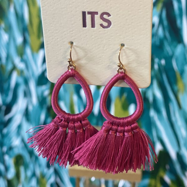 Fuchsia Pear Tassel Earring *Final Sale*