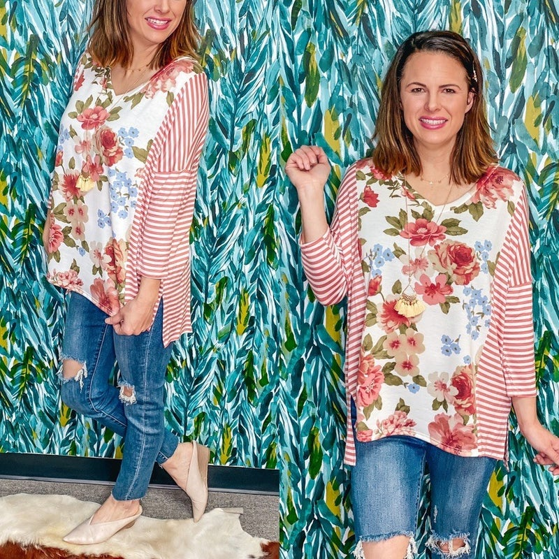 Reg/Plus Honey Me Floral V-Neck Top with Striped 3/4 Sleeves