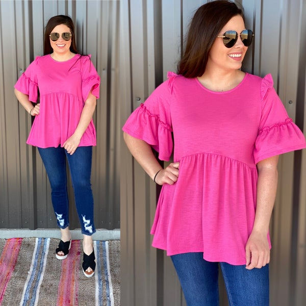 143 Story Fuchsia Empire Waist Top with Ruffled Sleeves *Final Sale*