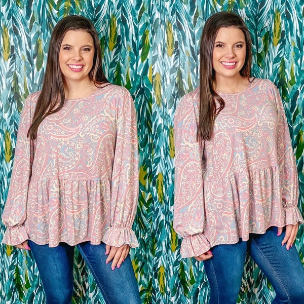 VB Pink Paisley Top with Ruffled Details