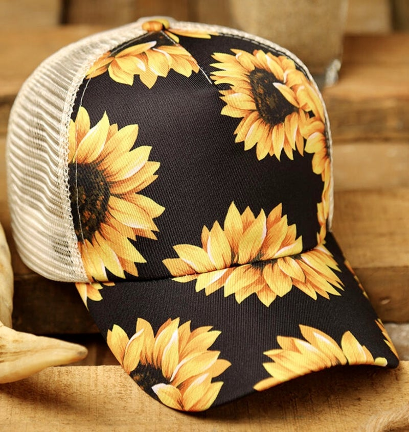 SUNFLOWER MESH CRISS CROSS PONYTAIL HAT