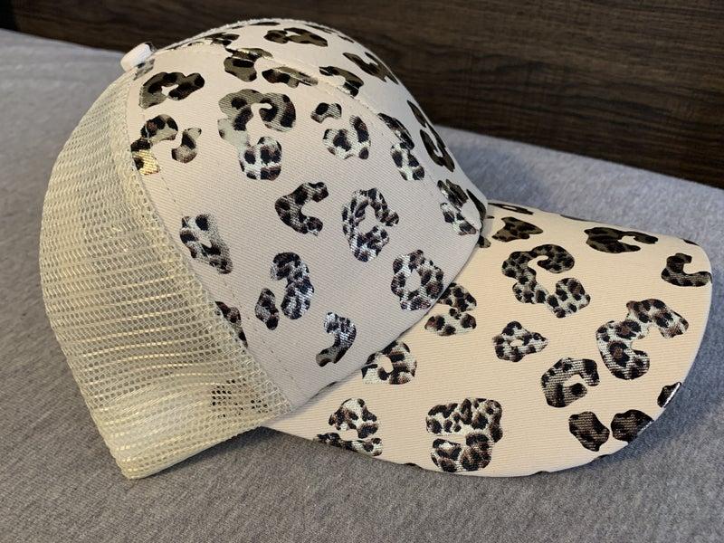 METALLIC LEOPARD CRISS CROSS PONYTAIL HAT