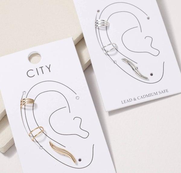 METAL EAR CUFF POST EARRING SET