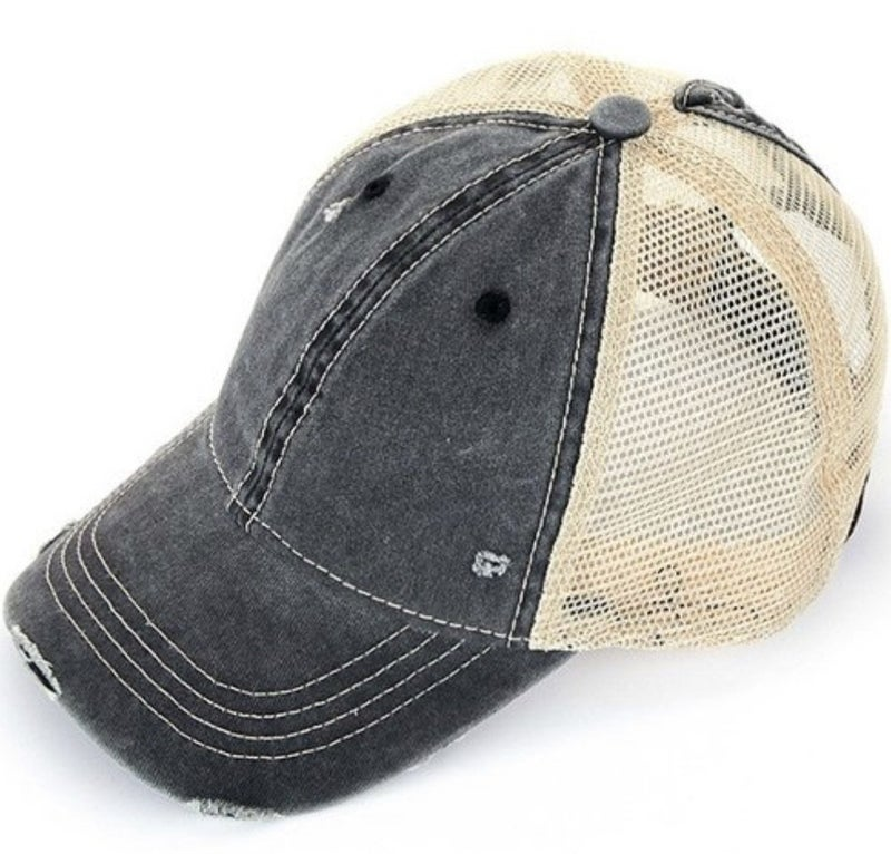 CC DISTRESSED MESH BACK PONYTAIL HAT