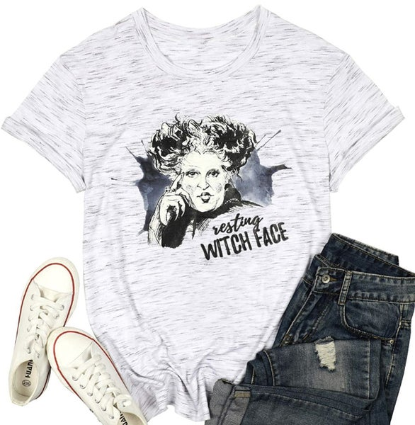 RESTING WITCH FACE FITTED TEE
