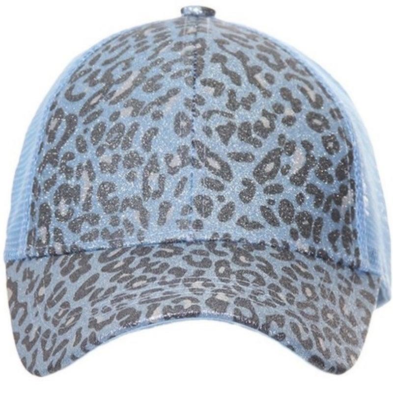 CC LEOPARD GLITTER MESH BACK PONYTAIL HAT