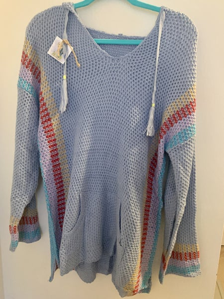 KNIT AZTEC HOODED SWEATER