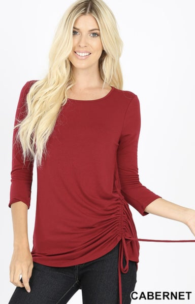 3/4 SLEEVE RUCHED TOP